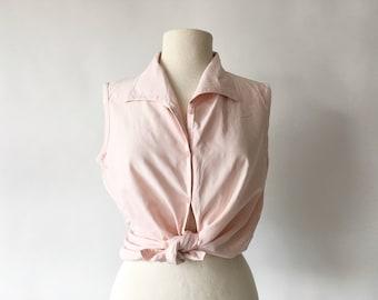 Vintage Pink Sleeveless Silk Blouse - Blush Tank Top