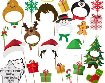 "Christmas Photo Booth Props: ""CHRISTMAS PARTY PROPS"" Christmas Photobooth Props Party Photo props Party supplies Printable Pdf Santa props"