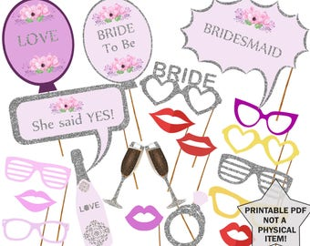 Printable Bridal Shower Photo Booth Props Bride Photobooth  Silver Bridal props Bachelorette Printable Props Bachelorette Party Bride To Be