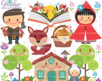 Red Riding Hood Clipart, Little Red Riding Hood Graphic, COMMERCIAL USE, Kawaii Clipart, Red Riding Hood Party, Planner Accessories, Graphic