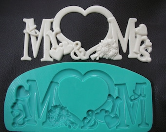 Silicone mold mould Wedding Chocolate Mold resin, fimo ,clay ,food mold Letters