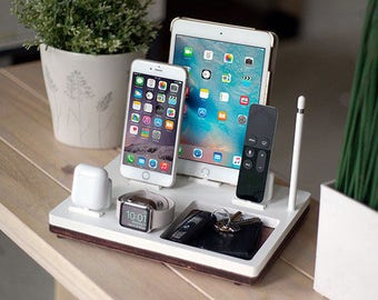 NytStnd TRAY 5 White - FREE SHIPPING Charging Station Wireless iPhone 8 iPad Apple Watch Apple Tv Airpods Christmas Birthday Gift