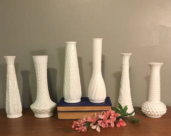 Set of 6 Milk Glass Vases