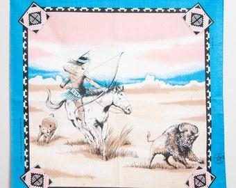 Vintage Native American Bandana blue horse