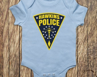 Hawkins Police Sheriff Badge Stranger Things Inspired TV Show Eleven Baby Clothing Babies Baby Grow Bodysuit Onesie T-shirt All Sizes Cols