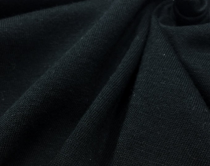100% Cotton Jersey Knit Fabric (Wholesale Price Available By The Bolt) USA Made Premium Quality - 2530D Black - 1 Yard
