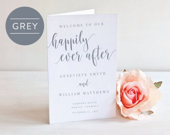 GREY-Folded Wedding Program-Instant Download Printable -Editable PDF-DIY Template-Calligraphy Template-Printable Wedding Program-#SN022_FP