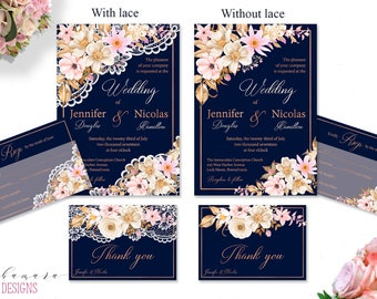 Blush Navy Wedding Invitation Set Romantic Rose Gold Lace Printable Wedding Invite Suite Digital Summer Floral Wedding Set - WS006