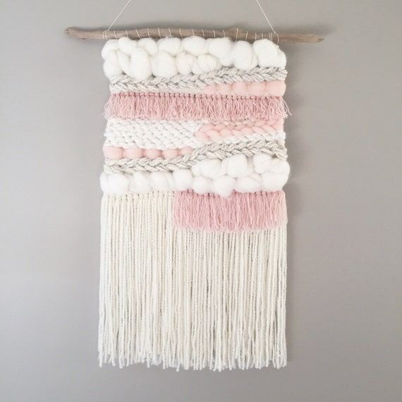 Woven wall hanging // MADE TO ORDER / Wall Hanging / Blush Pink Cream White Neutral / Nursery Art / Home Decor / Boho / Wall Art /