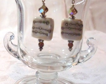 Earrings: Vint. Smoky Topaz AB Swarovski Crystals, Ivory/Silver Dots Lampwork Glass Tiles, Sm. Topaz SW Rounds, Pewter Accents, & SS Hooks