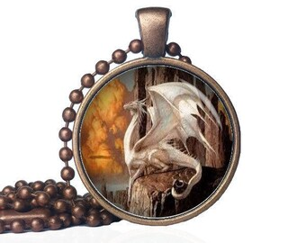 White Dragon Pendant - Magical Dragon Necklace - Dragon Pendant - Dragon Jewelry - Mythical Jewelry - Dragon Gift