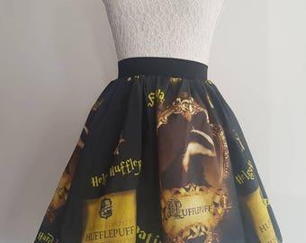Adult Harry Potter Inspired Hufflepuff Full Skater Skirt