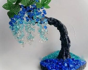 Wisteria. Глициния из бисера. Из алмазных камешков. Tree from beads. Beaded tree. Gift. Wisteria from beads.