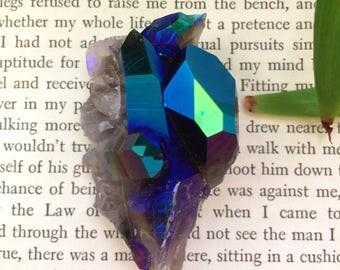 Glowing titanium aura smokey Quartz cluster, smoky quartz