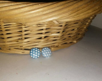 Blue and White,Poky Dot Print, Button Earrings