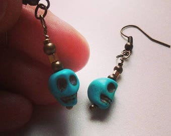 Skull Earrings, Turquoise Blue Earrings, Sugar Skull Charm Earrings, Goth Dangly Earrings, Howlite Errings, Rock Earrings, Skull Jewelry