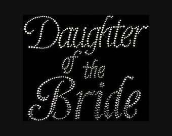 "Daughter of the Bride  (7.75x9"") Rhinestone Bling T-Shirt"