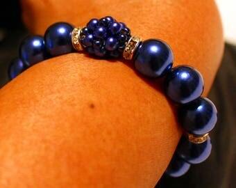 Beautiful Pearl-beaded shamballa bracelet in navy blue; beadweaving, handmade, cute, casual wear, party wear