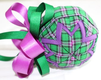 Purple & Green Plaid Fabric Quilted Ornament