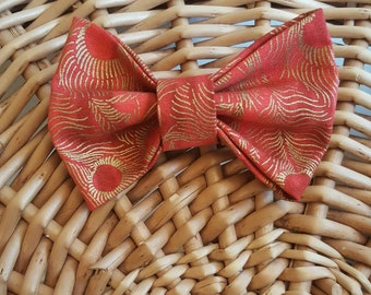 Red & Gold Feather Bow