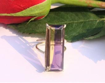 Ametrine Glass Ring, Ametrine Lab Ring, Pure 925 Sterling Silver Ring, Silver Ametrine Ring, Purple Glass Ring, Lab Ring, Glass Jewelry