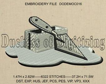 Masonry Embroidery Design, Masonry Embroidery File, Concrete, Cinder Block, Trowel, DODEMOC016