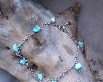 Bracelet of ankles, ethnic, Celtic, Elvish blue stainless steel and Amazonite