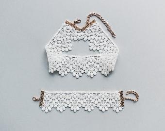 Ivory Choker + Bracelet Set / Bridal Necklace / Bridal Bracelet / White Lace Choker Necklace / Lace Bracelet / Ivory Bridesmaid Gift for Her
