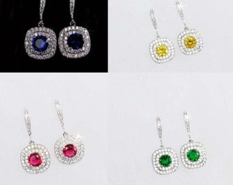 Your Colour Choice -- Colour Cubic Zirconia CZ Halo Colour Bridal Dangle Earrings, Bridal, Wedding (Sparkle-2093)