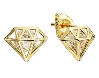 14k Solid Yellow Gold Stud Earrings 7723 Charming Pentagon Design Lovely