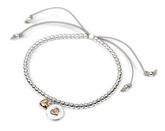 Cho Heart Bracelet, Rose Gold And Silver Plated Bracelet, Beaded Bracelet, Heart Jewelry, Heart Bangle, Beaded Heart Bracelet