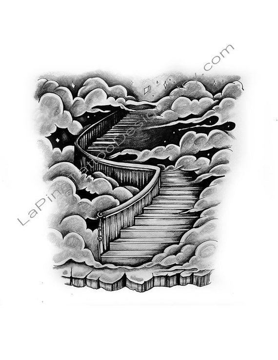 stairway to heaven clouds tattoo design. Black Bedroom Furniture Sets. Home Design Ideas