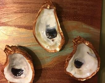 """Copper Oyster Trio on 8"""" x 8"""" wooden canvas- uniquely Louisiana"""