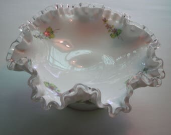 Fenton Glass Compote, hand painted and signed