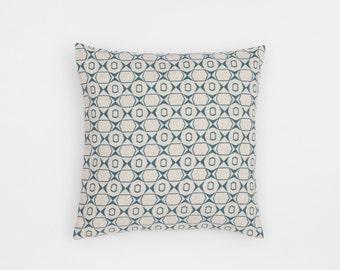 Petek Handscreen Printed Cushion Cover - Teal Blue 40x40cm