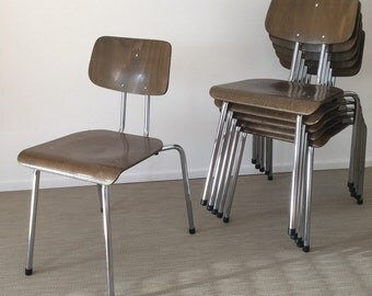 70s bentwood stacking chairs with chrome frame (6 pieces available) by Drabert