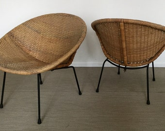 Mid century 60s rattan armchair hoop Chair wicked Chair (Calif. Asia?)