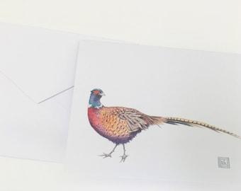 Watercolor pheasant greeting cards, set of 8 cards and envelopes, watercolor greeting cards, printed original artwork,watercolor cards