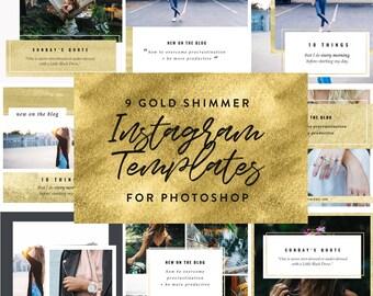 9 Gold Shimmer Instagram PSD Templates for Bloggers, Photographers + Entrepreneurs