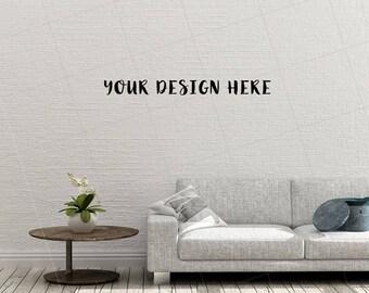 Blank Wall Mockup Living Room Mock Up Styled Stock Photography Sofa