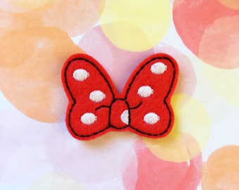 Felties, Red Bow, Polka Dots, Miss Mouse, Hair Bow, Felt Applique, Embroidered Applique
