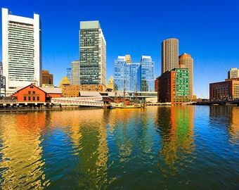 Boston skylines,reflection,blue skyes.