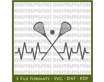 Heartbeat Lacrosse SVG File, Lacrosse SVG for Cutting Machine, Lacrosse file svg dxf pdf  LacrosseVector Art  LAX svg