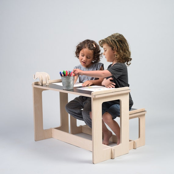 black table and bench kids play table wood bench kids