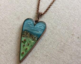 Meadow by the Sea Pendant // Seaside Pendant //  Nature Pendant // Resin Art