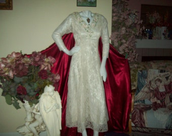 """Victorian Lace Dress by """"Midnight Glo"""", Made in USA, Woman's size 6"""
