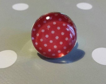 Red Rockabilly ring with white dots