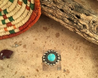 Spring Time Yet Vintage Navajo Turquoise and Sterling Silver Ring Size 6 Signed