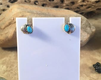 Vintage Navajo Turquoise and Sterling Silver Stud Earrings