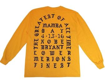 Gold And Deep PURPLE   The GOAT Long Sleeve Tee Shirt   Mamba Day 4 13